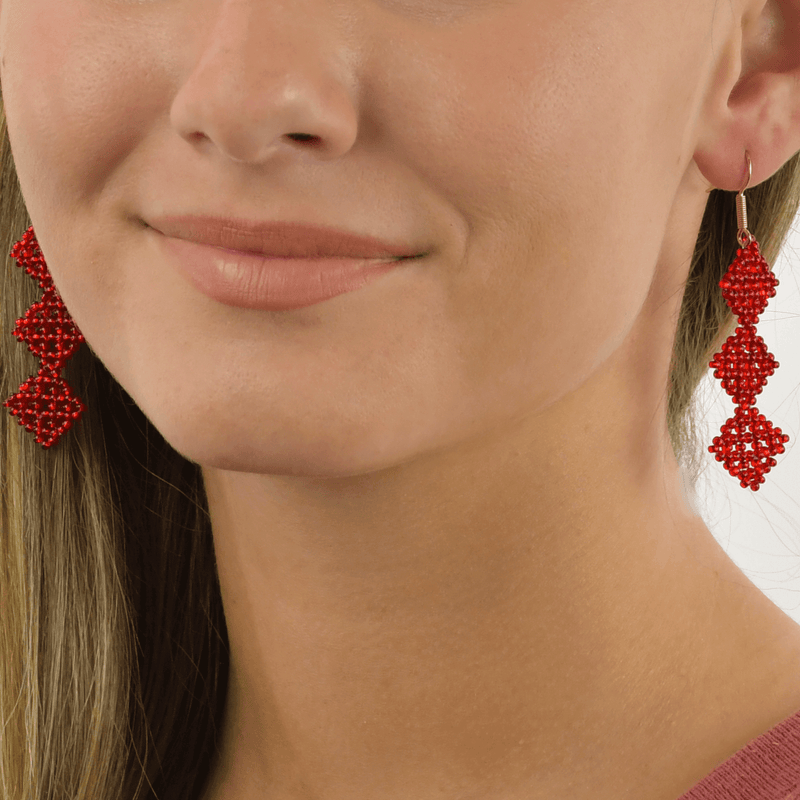 Tile Earrings in Iridescent Red - Josephine Alexander Collective