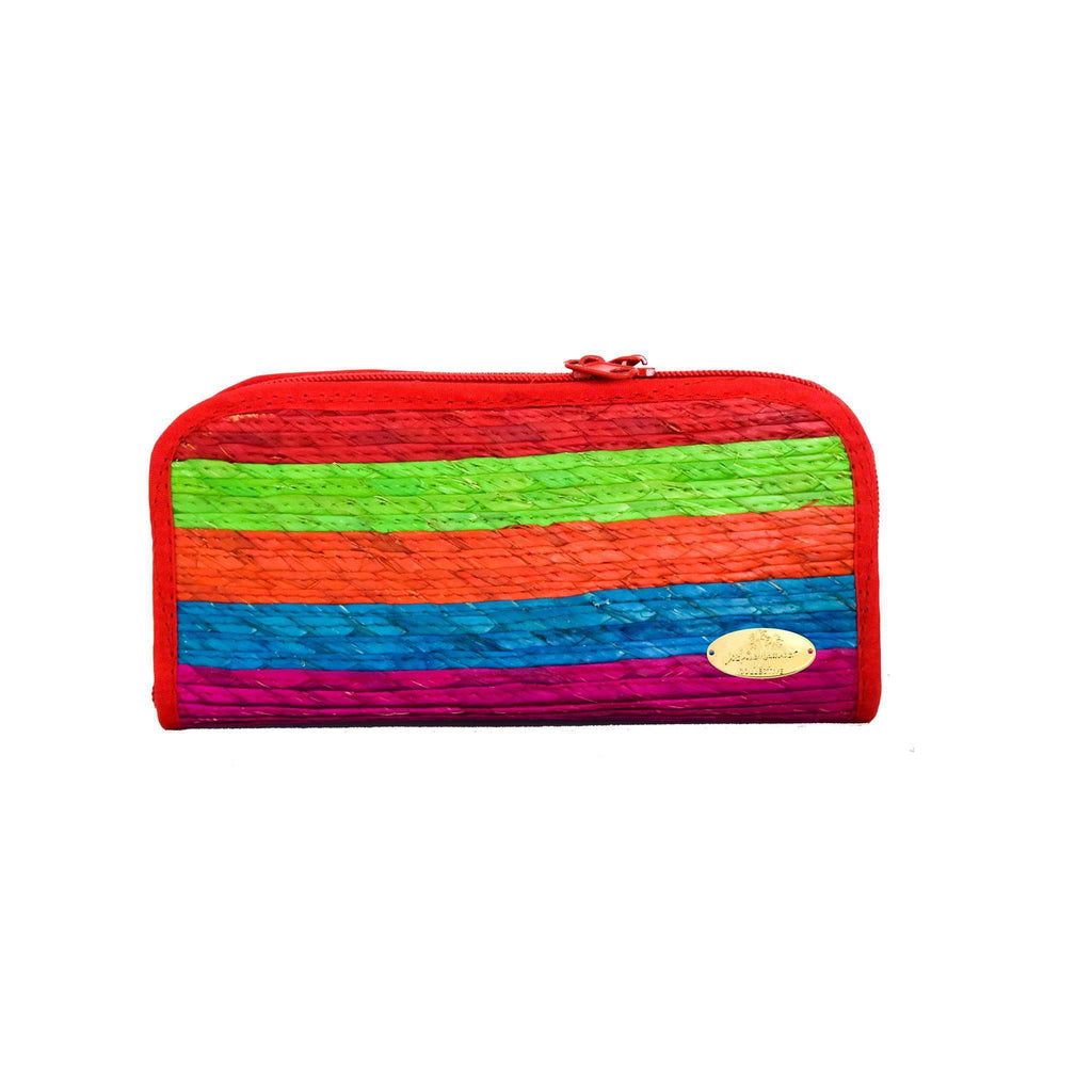 Cancun Straw Wallet in Lollipop - Josephine Alexander Collective