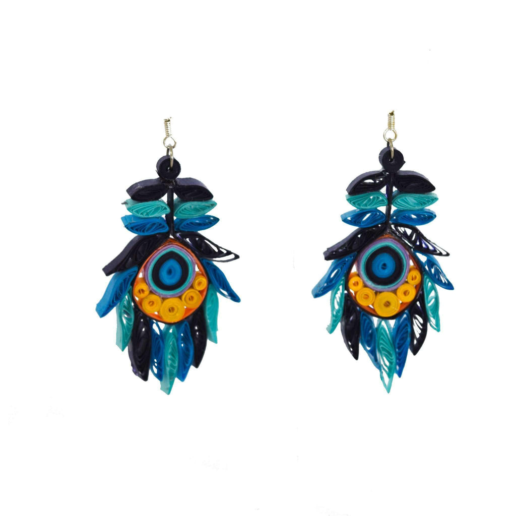 Josselyn Quilled Earrings in Peacock