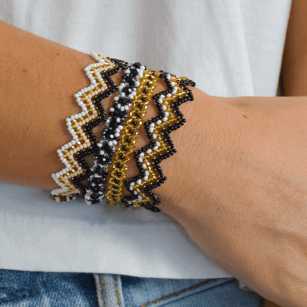 Bracelet Stack in Black and Gold - Josephine Alexander Collective