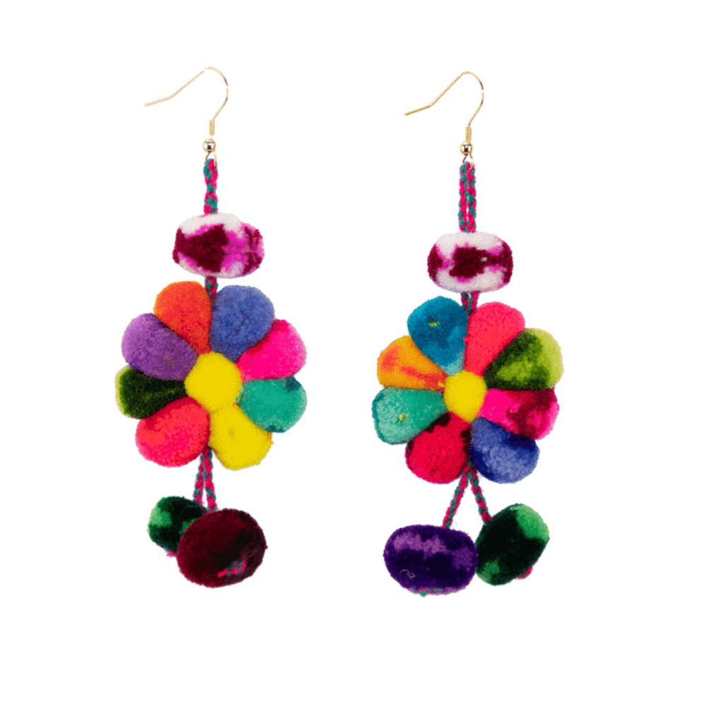 Pom Flower Earrings in Carnation Rainbow - Josephine Alexander Collective