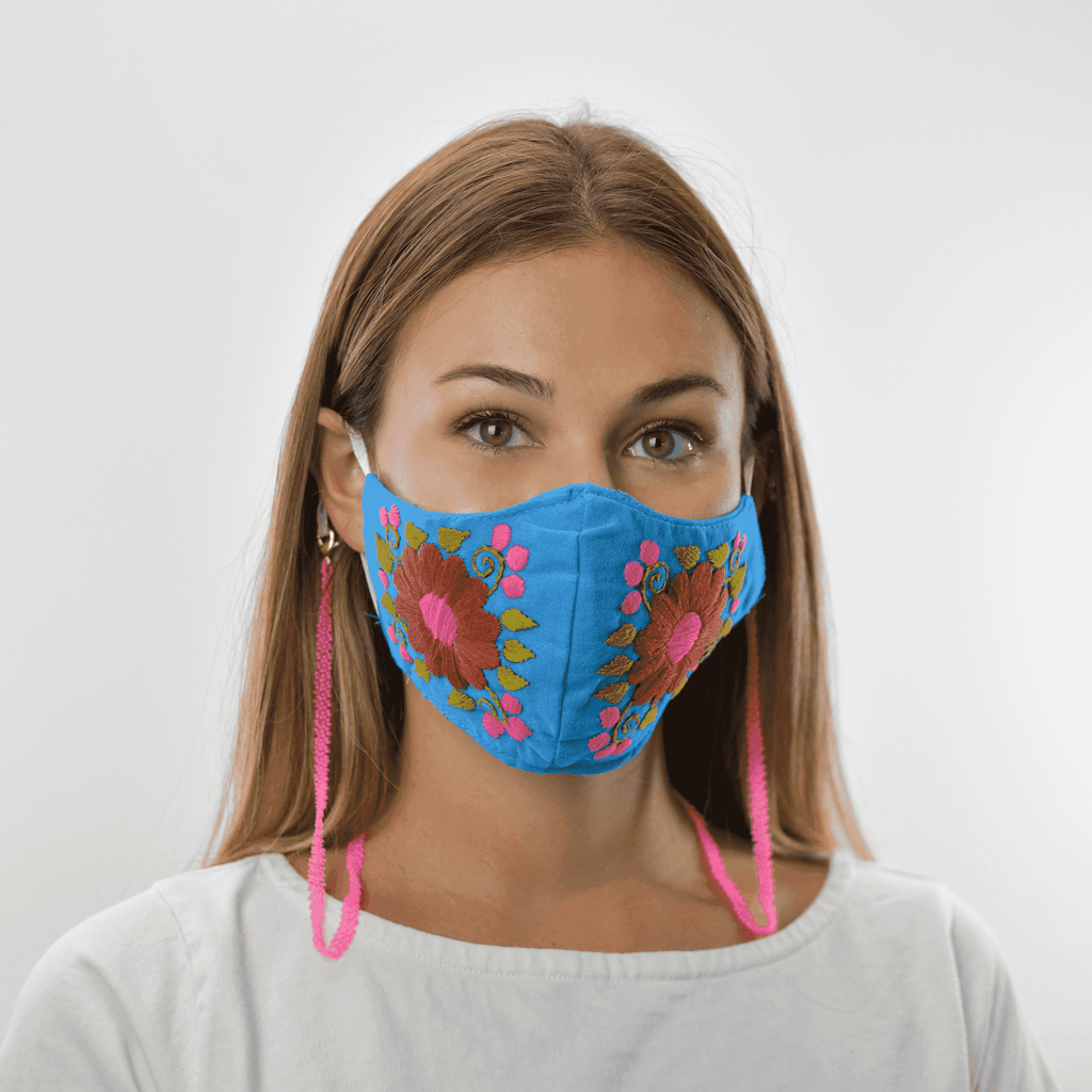 Rosita Mask with Chain - Bright Blue/Pink - Josephine Alexander Collective