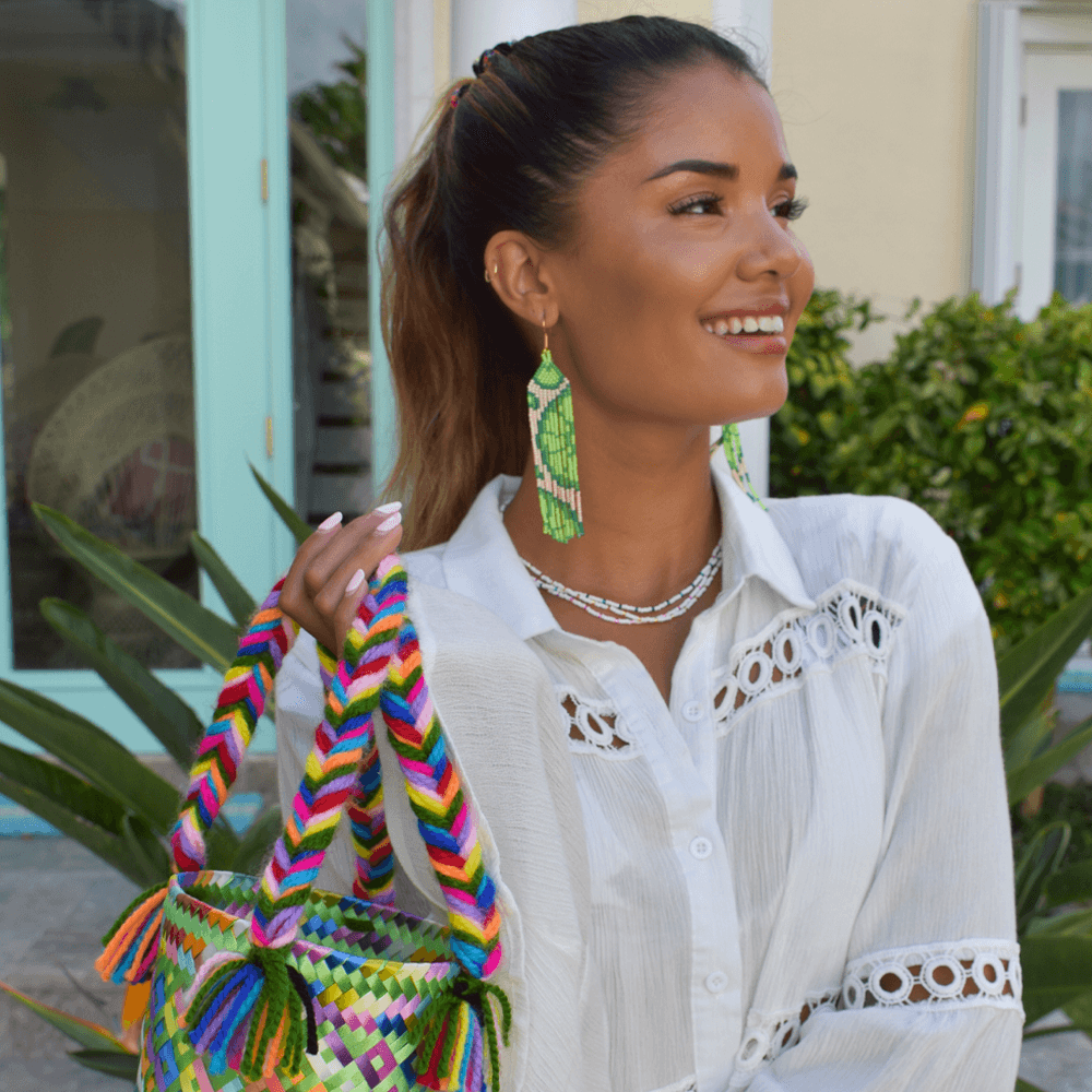 Juicy Lime Beaded Earrings - Josephine Alexander Collective
