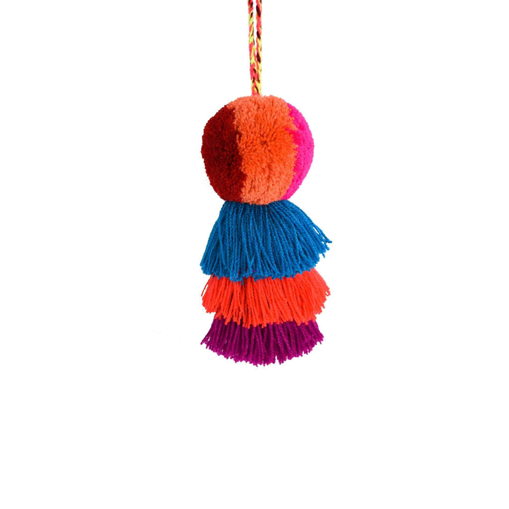 Medium Pom Tassel in Orange Aqua