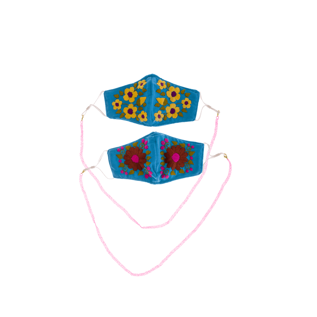 Rosita Mask with Chain - Bright Blue/Neon Pink