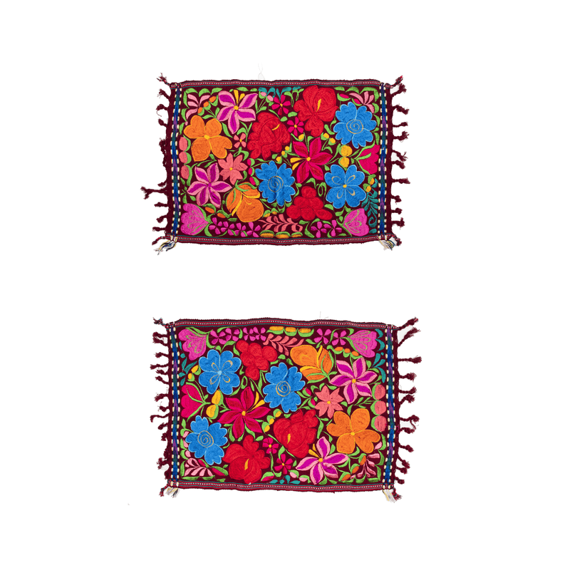 Embroidered Placemats - Set of 2 - Burgundy - Josephine Alexander Collective