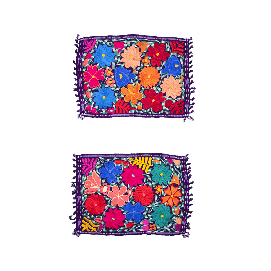 Embroidered Placemats - Set of 2 - Purple - Josephine Alexander Collective