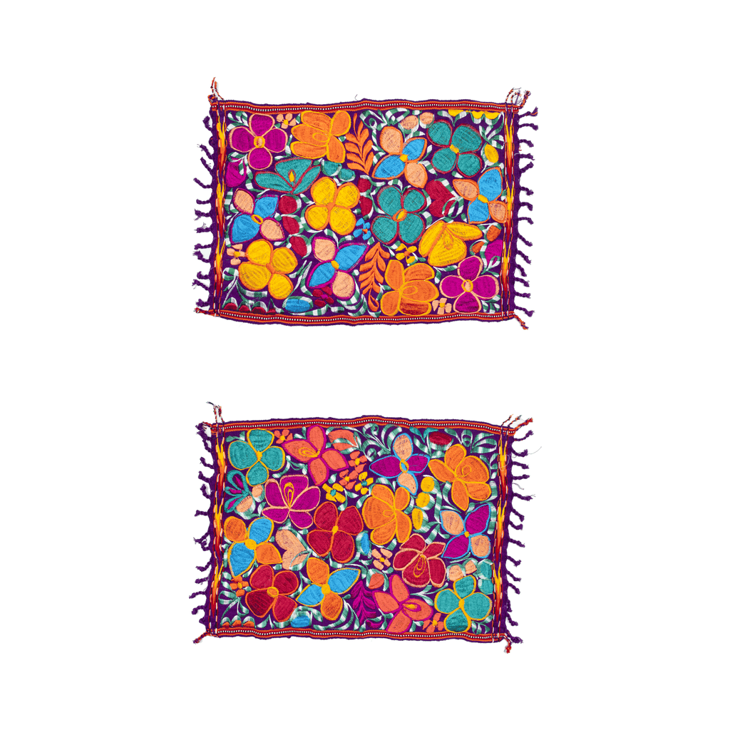 Embroidered Placemats - Set of 2 - Purple #2 - Josephine Alexander Collective