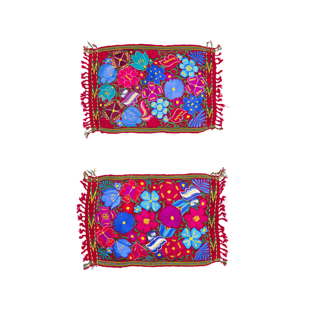 Embroidered Placemats - Set of 2 - Red #2 - Josephine Alexander Collective