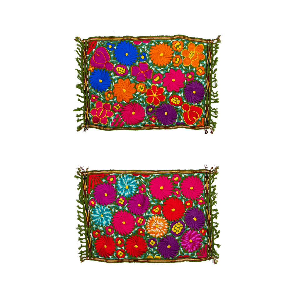 Embroidered Placemats - Set of 2 - Green - Josephine Alexander Collective