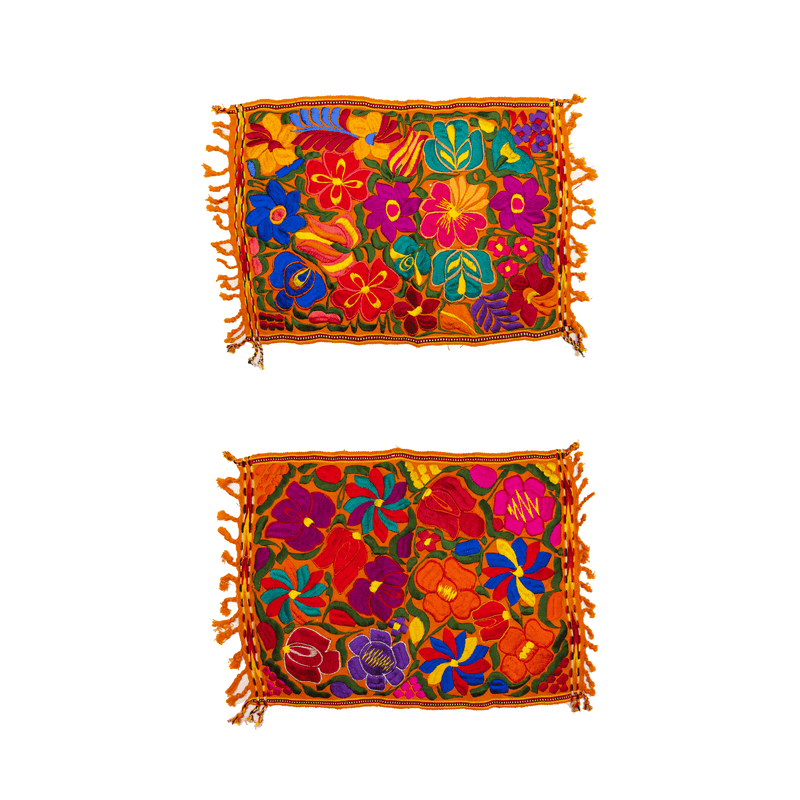 Embroidered Placemats - Set of 2 - Orange #2 - Josephine Alexander Collective
