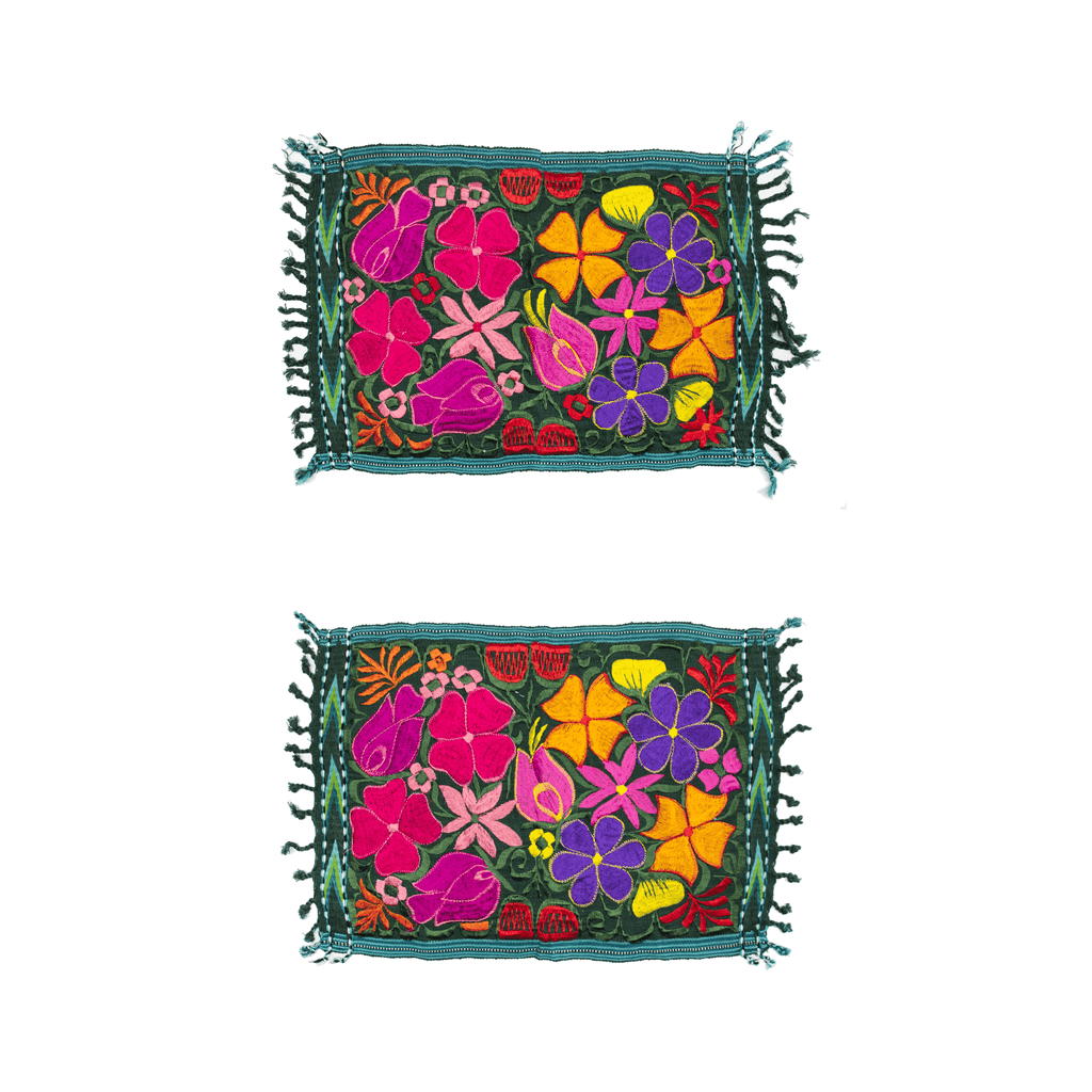 Embroidered Placemats - Set of 2 - Green #2 - Josephine Alexander Collective