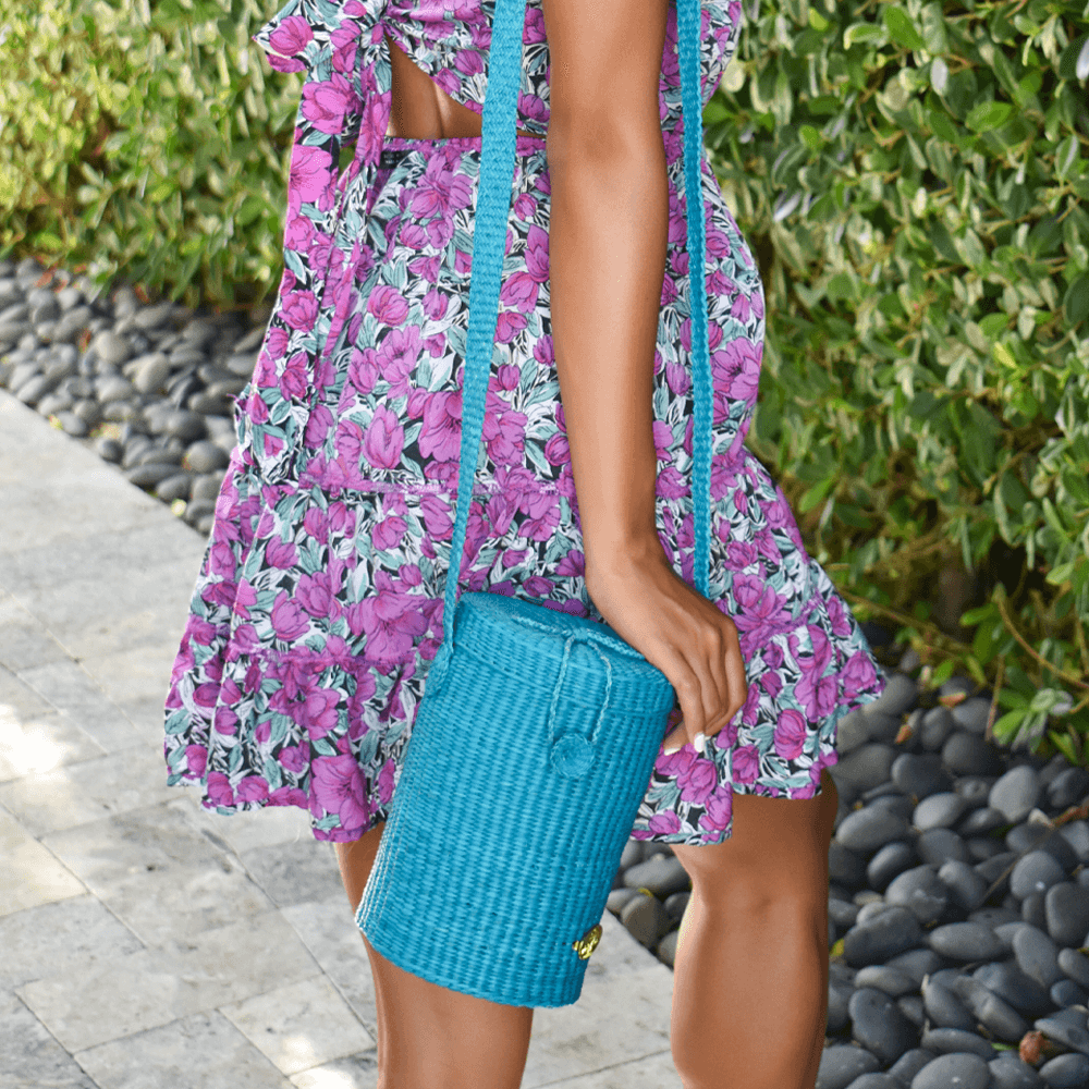 Mina Straw Crossbody in Turquoise - Josephine Alexander Collective
