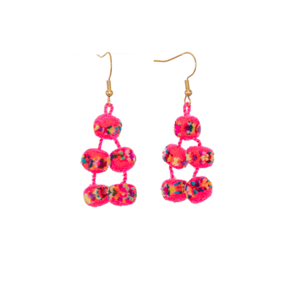 Mini Pom Earrings in Hot Pink Confetti