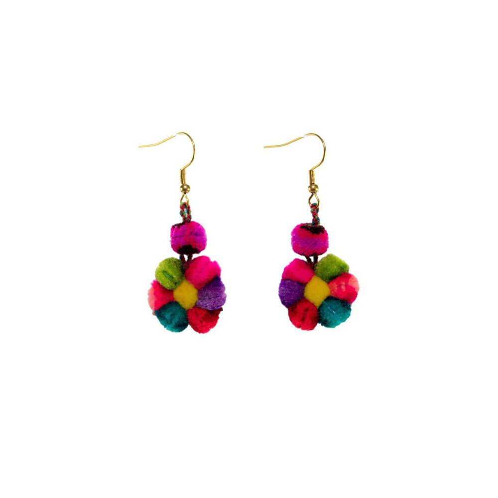Mini Pom Flower Earrings in Rainbow