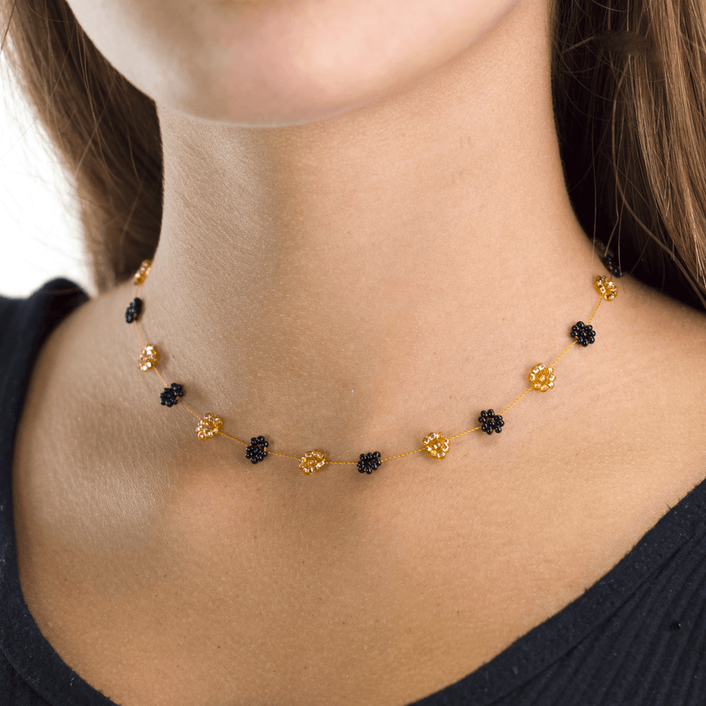 Daisy Chain Necklace in Black and Gold - Josephine Alexander Collective