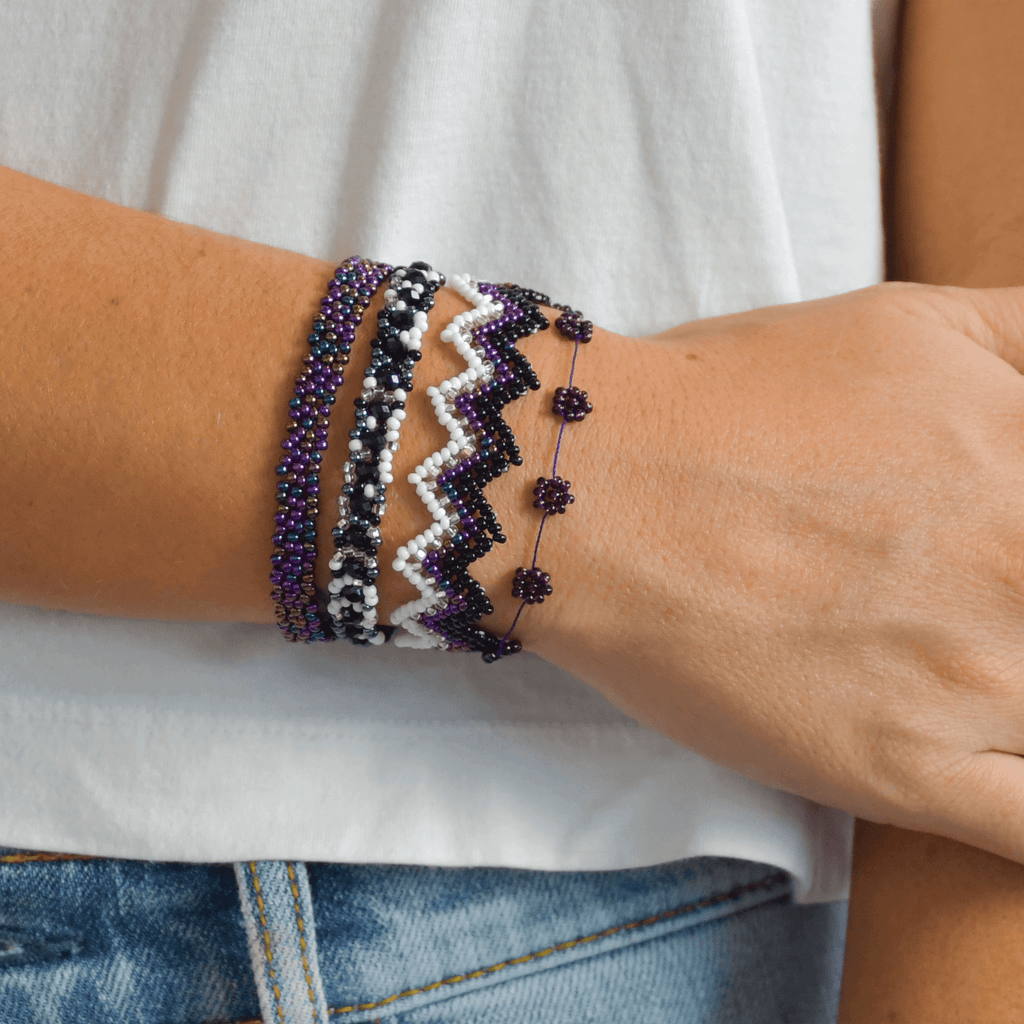 Bracelet Stack in Purple and Black - Josephine Alexander Collective