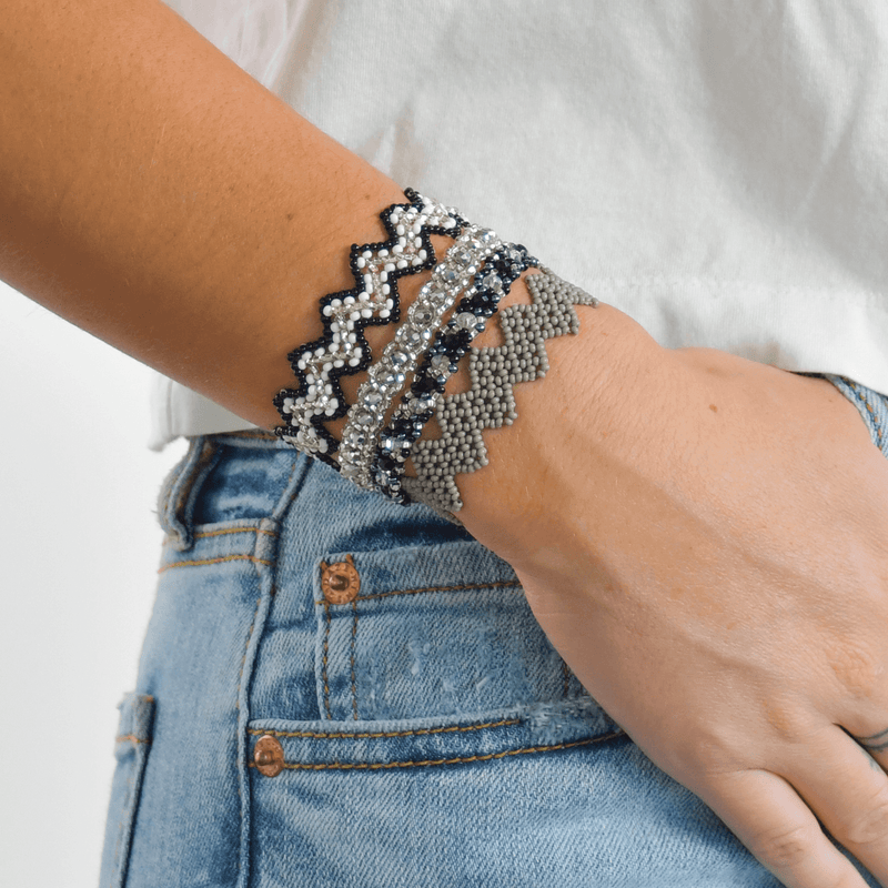 Bracelet Stack in Silver and Black - Josephine Alexander Collective