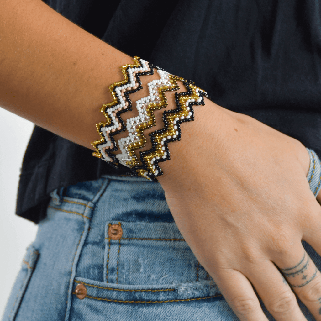 Bracelet Stack in White and Gold - Josephine Alexander Collective