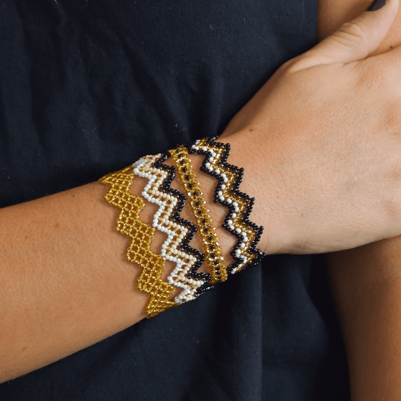 Bracelet Stack in Gold and Black - Josephine Alexander Collective