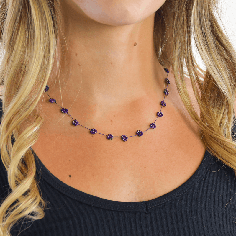 Daisy Chain Necklace in Iridescent Purple