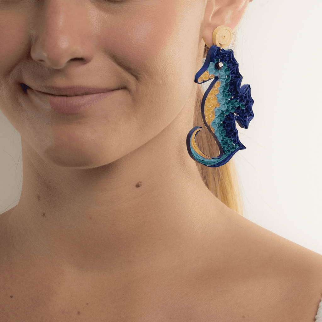 Bahama Blue Seahorse Quilled Earrings - Josephine Alexander Collective