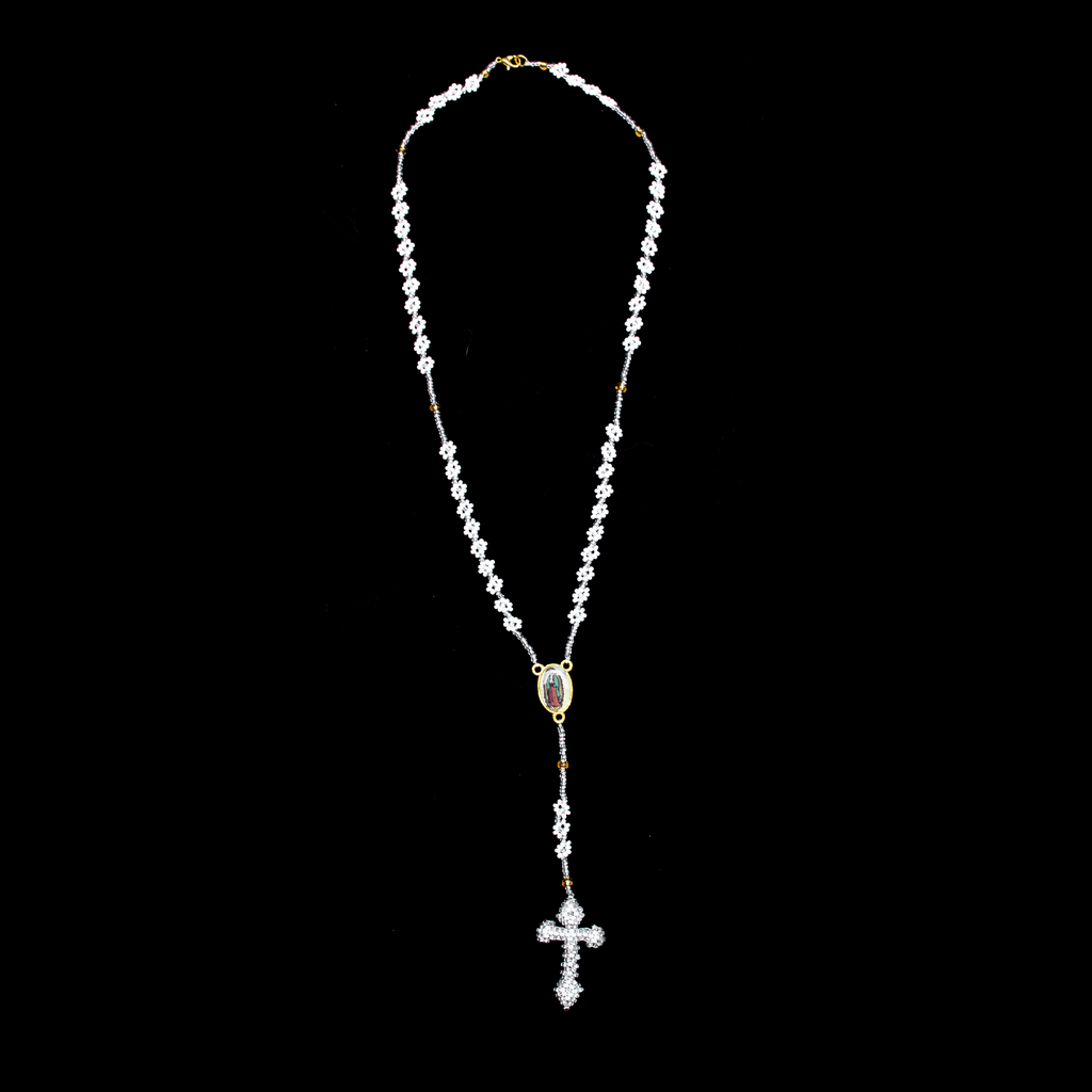 Thalia Beaded Rosary in White and Silver - Josephine Alexander Collective