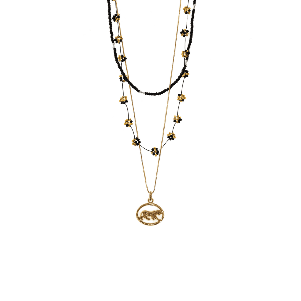 Gold and Black Panther Necklace Stack