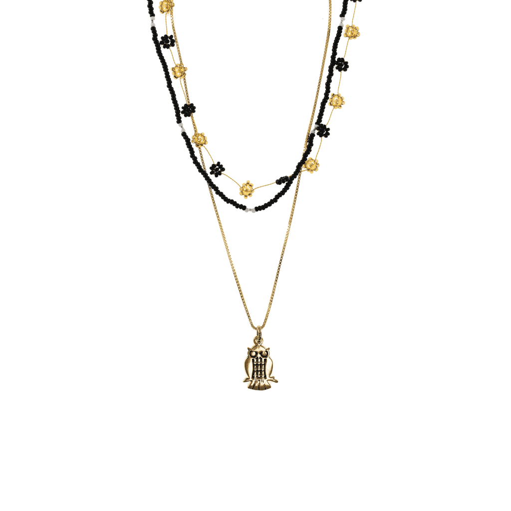 Gold and Black Owl Necklace Stack - Josephine Alexander Collective