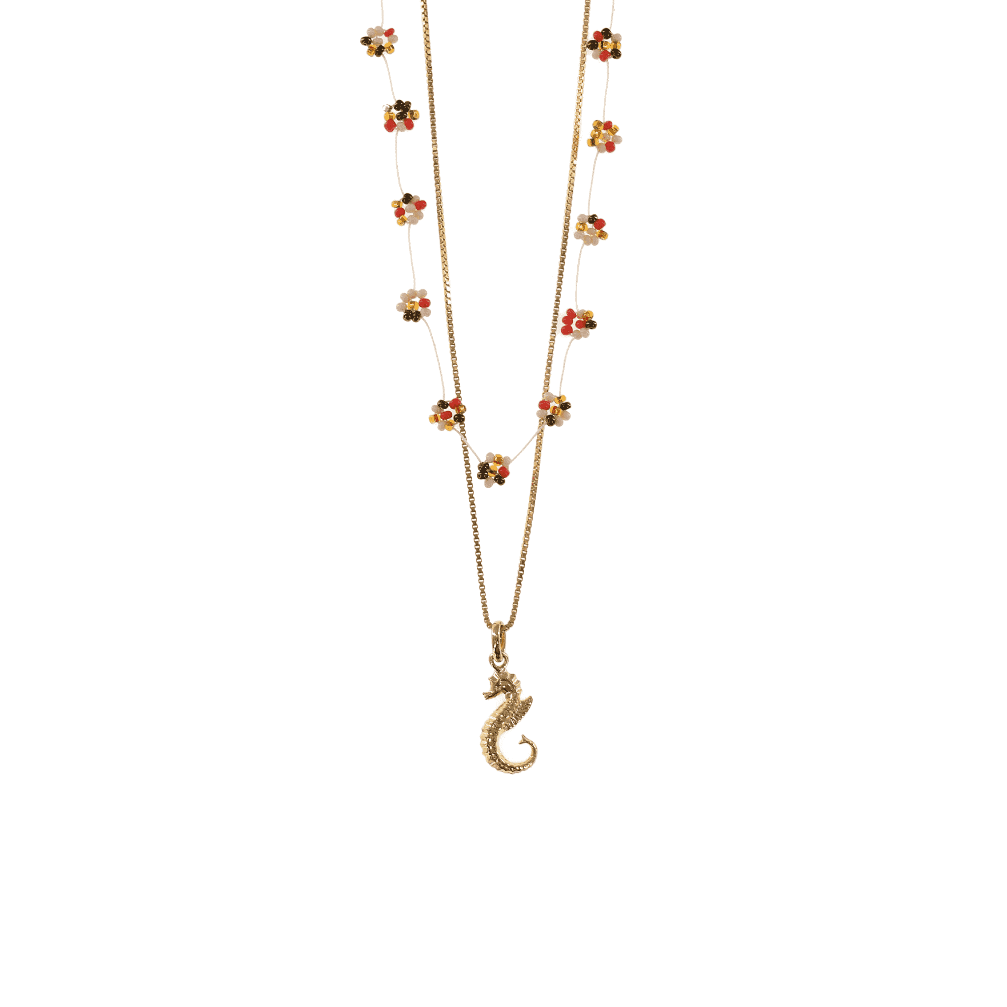 Click to shop - The Gold Seahorse Necklace Stack