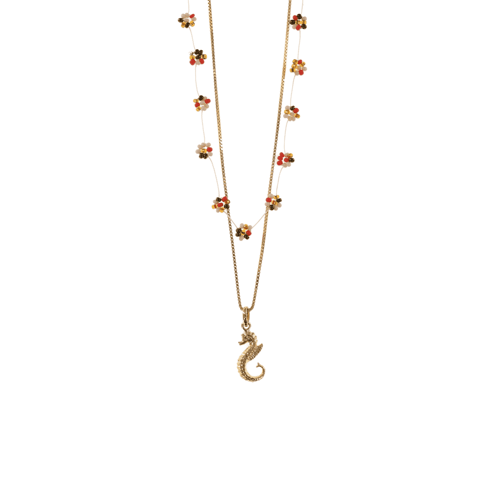 Gold Seahorse Necklace Stack