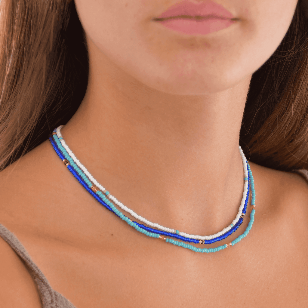 Blue Wave Beaded Necklace Stack - Josephine Alexander Collective