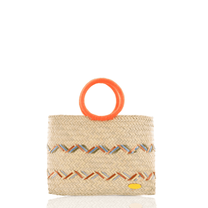 Kelly Straw Handbag in Orange, Green and Blue