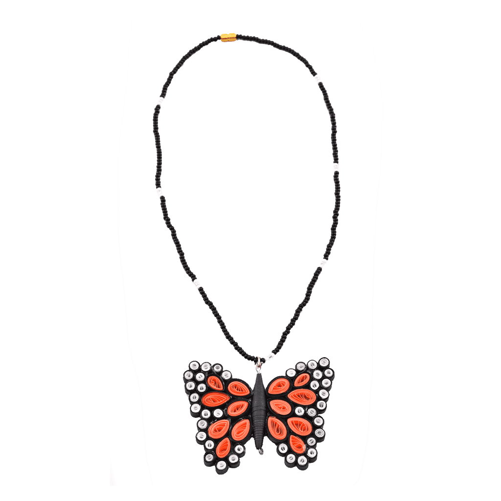 Quilled Butterfly Necklace in Peach - Josephine Alexander Collective