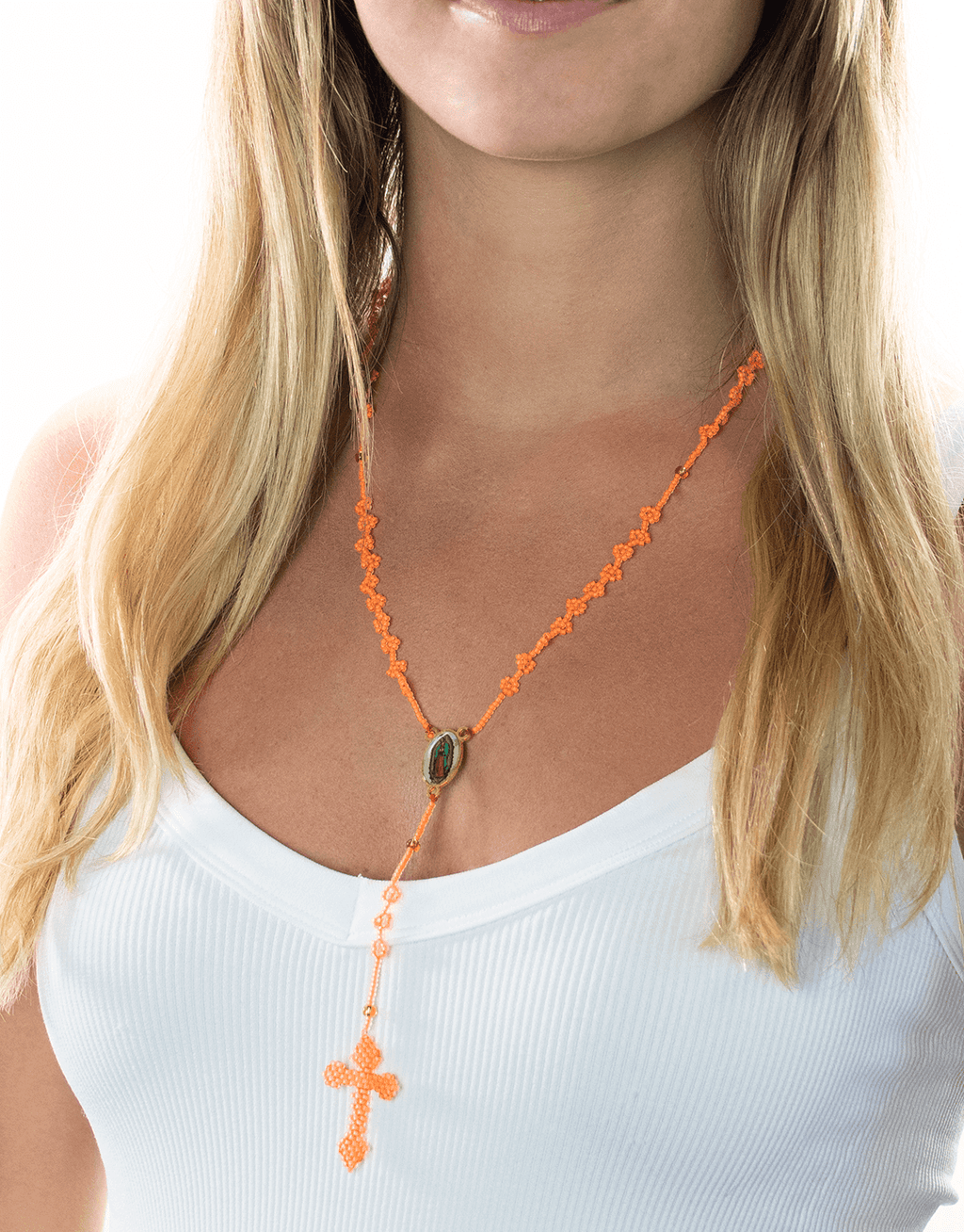 Thalia Beaded Rosary in Neon Orange - Josephine Alexander Collective