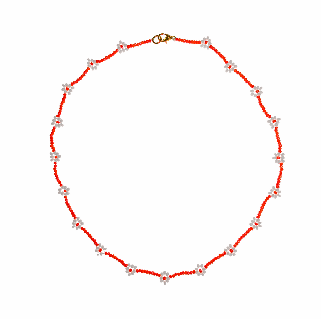 Beaded Daisy Necklace in Orange and White - Josephine Alexander Collective