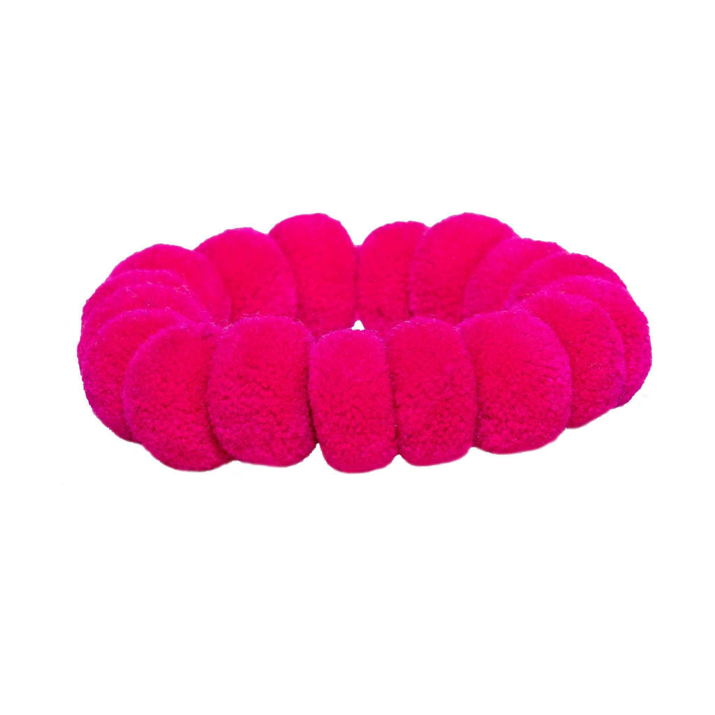 Pom Scrunchie in Pink Hibiscus