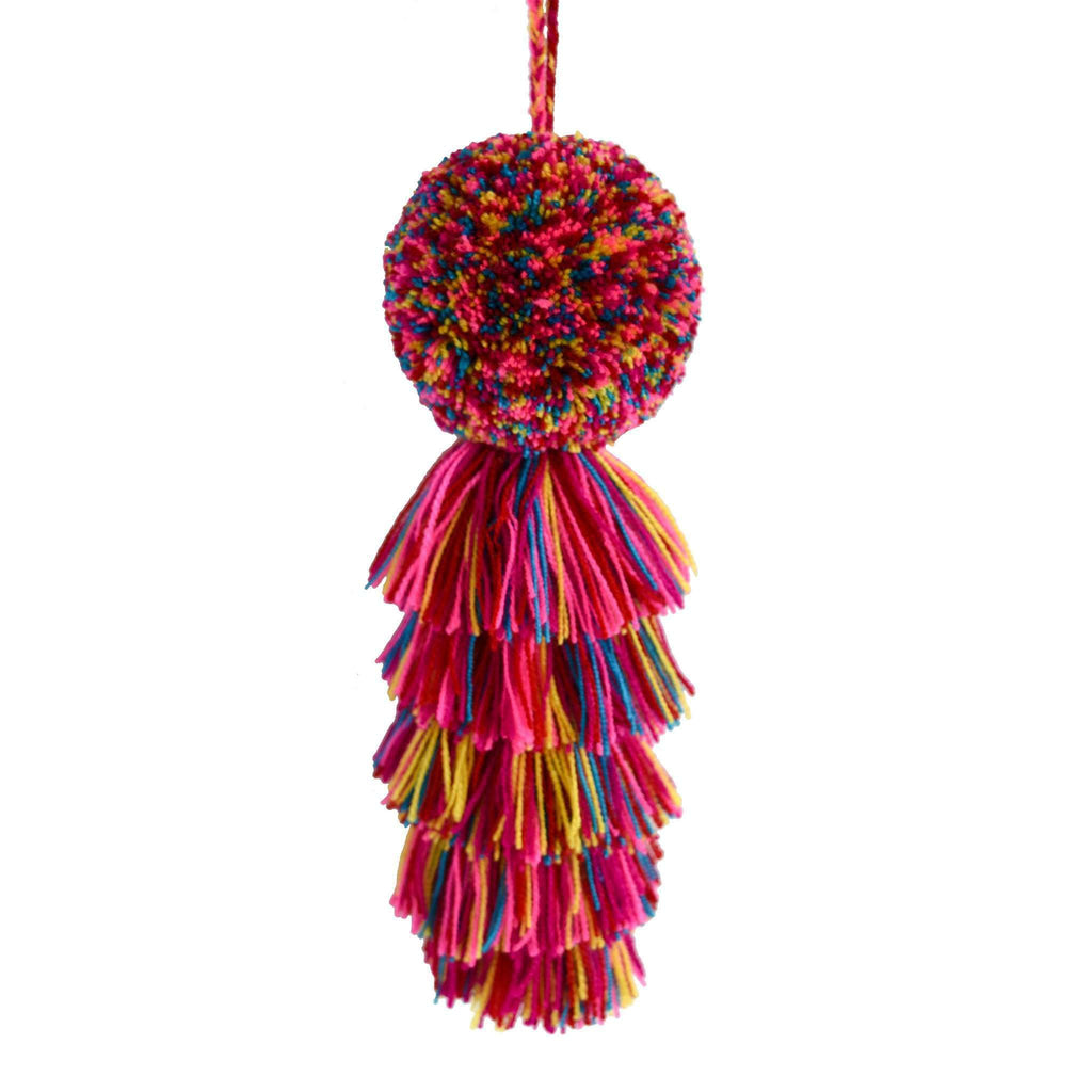 Large Pom Tassel in Pink Rainbow