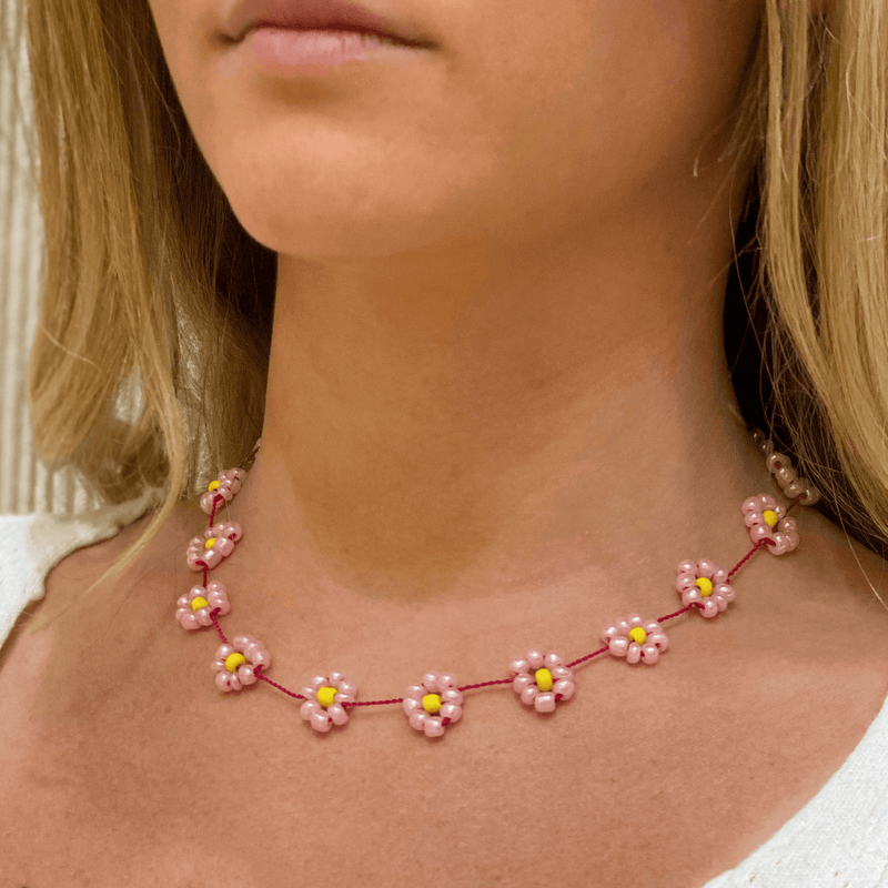 Large Daisy Chain Necklace Light Pink & Yellow - Josephine Alexander Collective