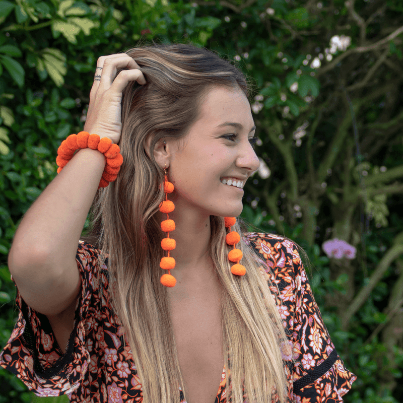 Pom Drop Earrings in Bright Orange - Josephine Alexander Collective