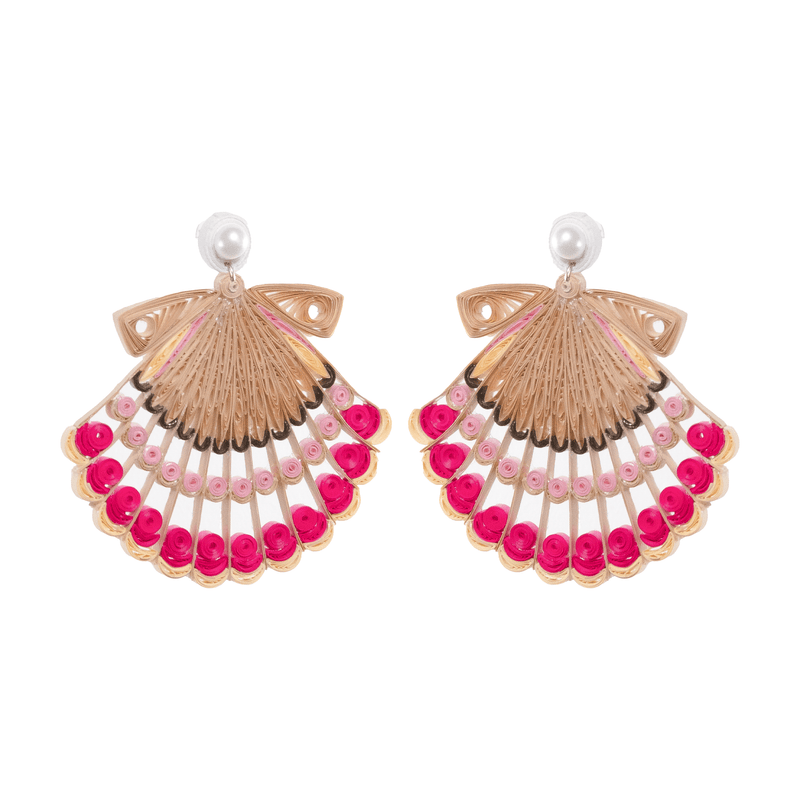 Sea Scallop Quilled Earrings - Josephine Alexander Collective