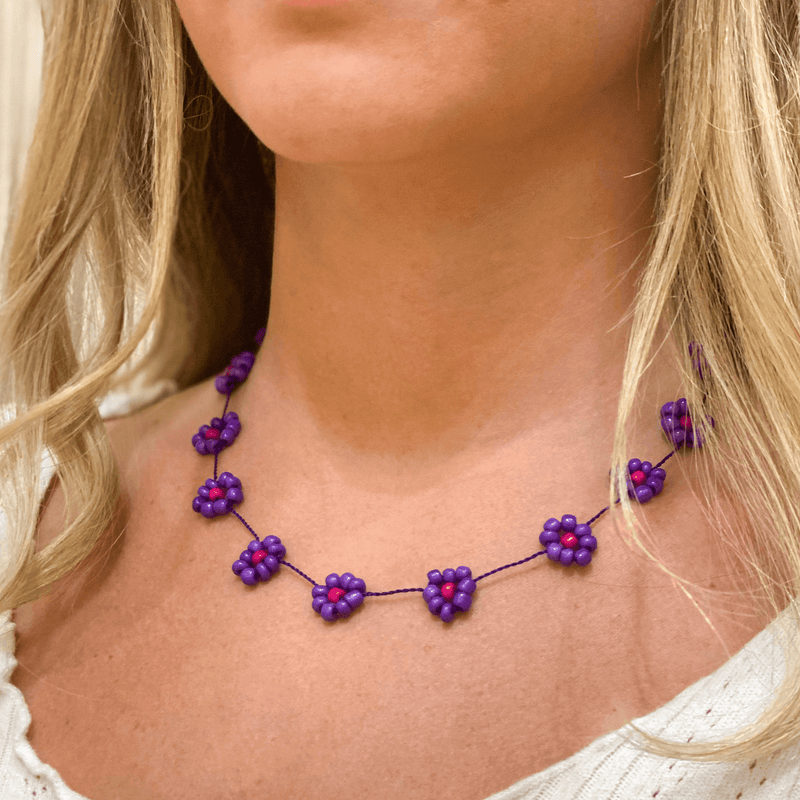 Large Daisy Chain Necklace Purple & Pink - Josephine Alexander Collective