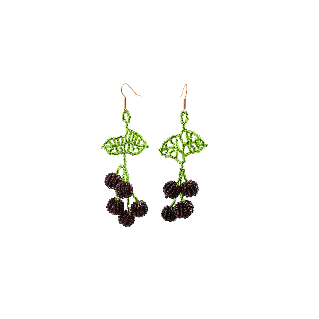 Cherry Beaded Earrings in Purple