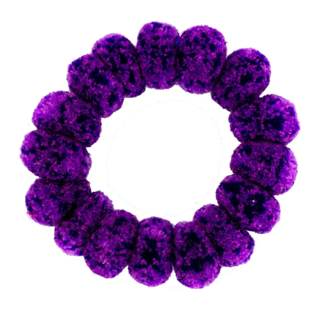 Pom Scrunchie in Purple Dots