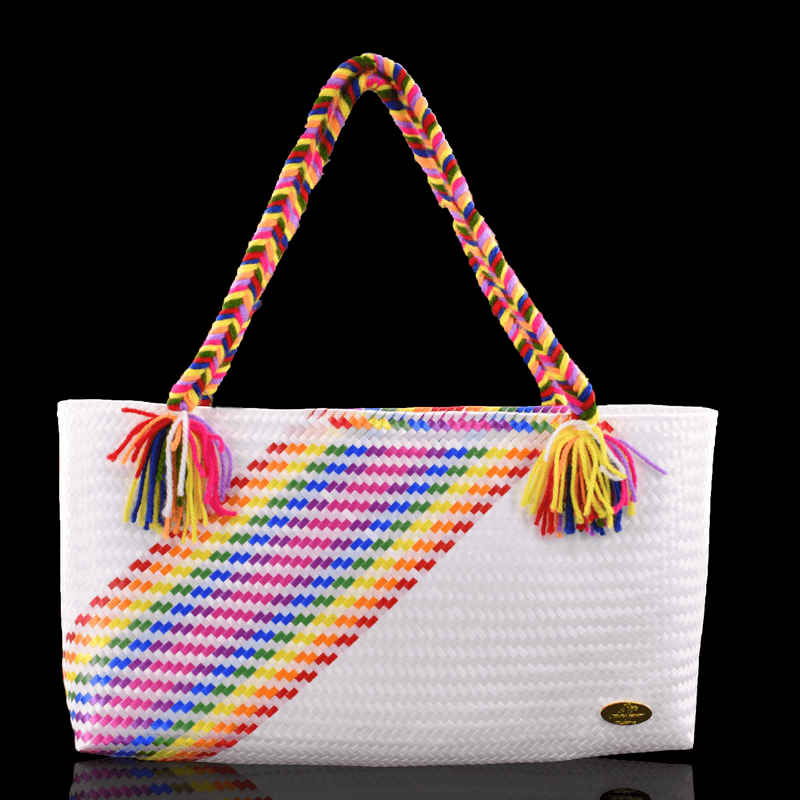 The Nicky Bag in White Splash of Rainbow - Josephine Alexander Collective