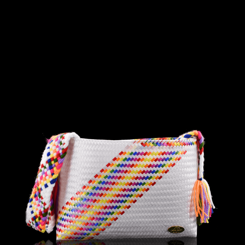Colleen Crossbody in White Splash of Rainbow