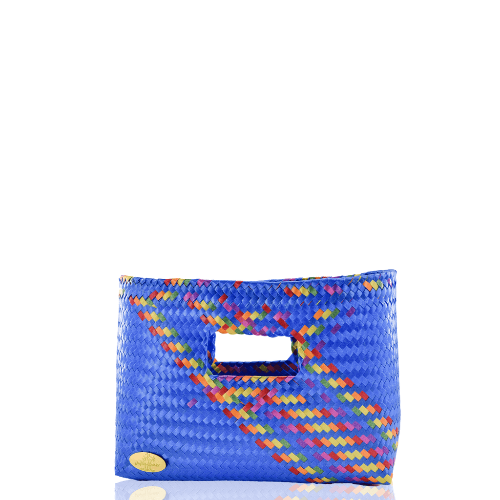 Alison Woven Clutch in Blue Splash of Rainbow