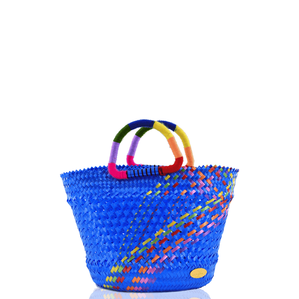 Lulu Basket Bag in Blue Splash of Rainbow - Josephine Alexander Collective