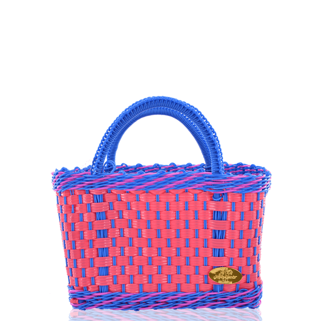 Jessica Basket Bag in Pink and Light Blue Pink - Josephine Alexander Collective