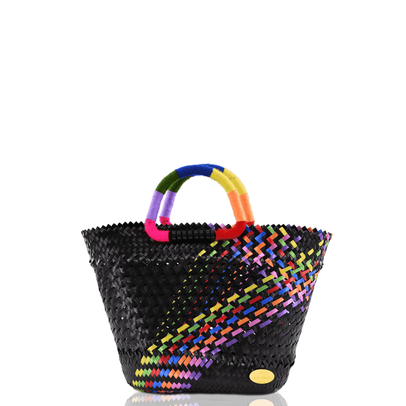 Lulu Basket Bag in Black Splash of Rainbow - Josephine Alexander Collective
